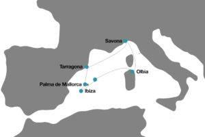 Mapa recorrido crucero mediterraneo