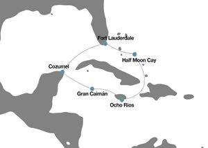 Itinerario mapa crucero Caribe