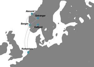 Itinerario mapa crucero por Noruega