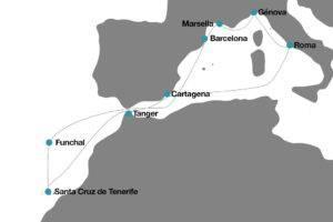 itinerario Crucero desde Barcelona a Portugal Canarias Marruecos Italia y Francia