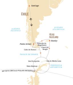 Ruta crucero por la Antártida