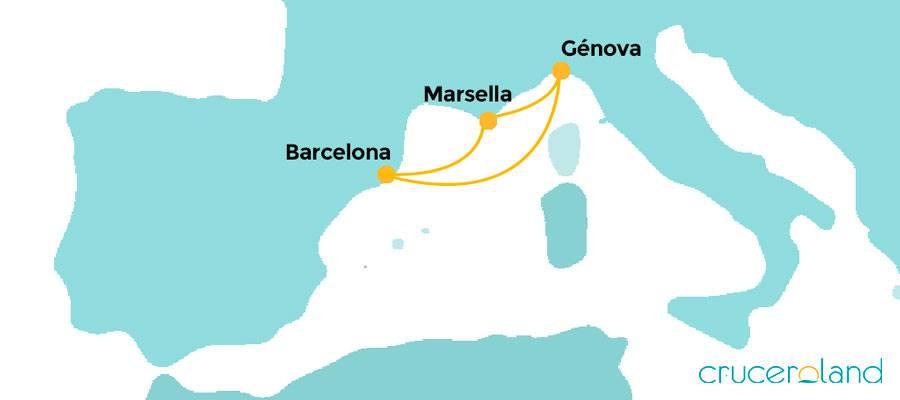 Crucero por el Mediterráneo, Marsella, Génova