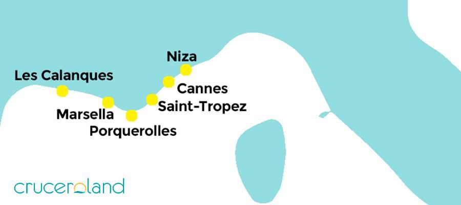 Mapa Costa Azul con los mejores lugares y playas