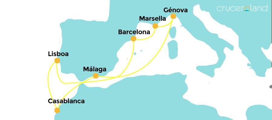 Itinerario crucero por España, Italia, Francia, Marruecos y Portugal