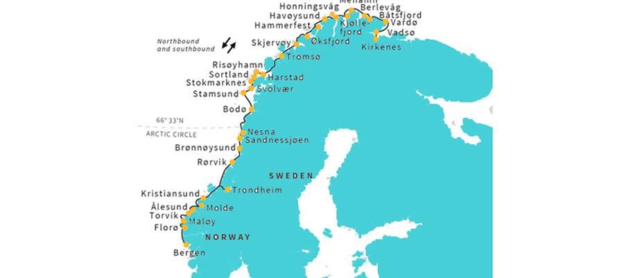 Itinerario crucero completo Noruega de Hurtigruten