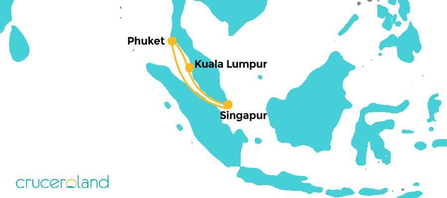 Itinerario Crucero por Tailandia y Malasia desde Singapur