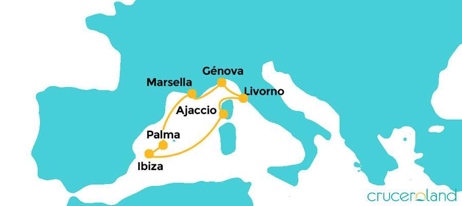 Itinerario crucero Islas Baleares y Francia