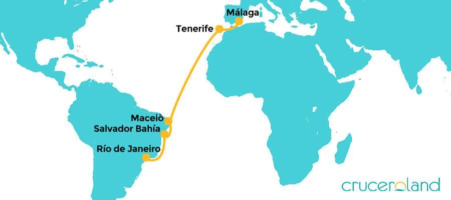 Itinerario crucero de Río de Janeiro a Málaga