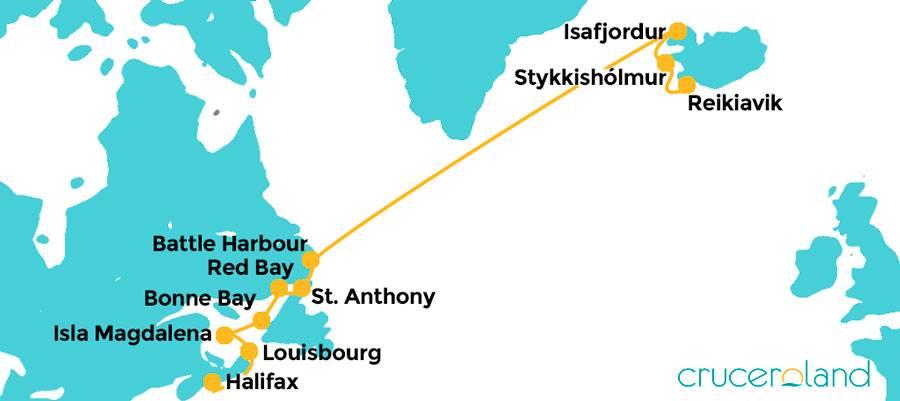 Itinerario crucero Islandia y Canadá en Hurtigruten