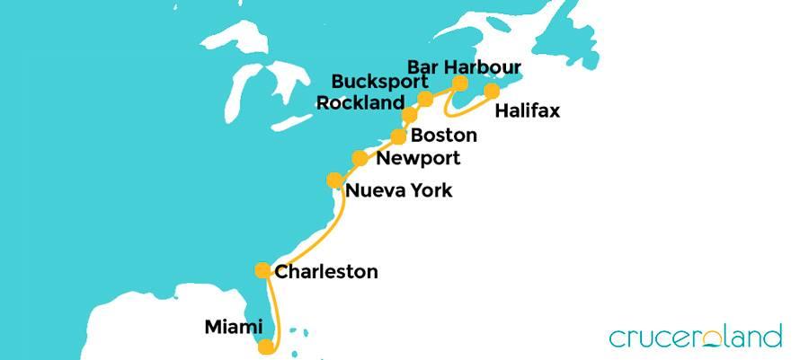 Itinerario crucero por Estados Unidos y Canadá de Hurtigruten