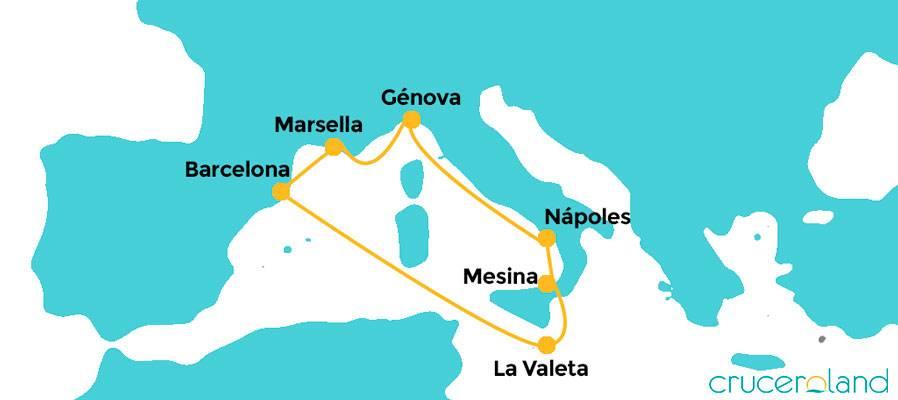 Itinerario crucero Mediterráneo y Malta MSC Bellissima
