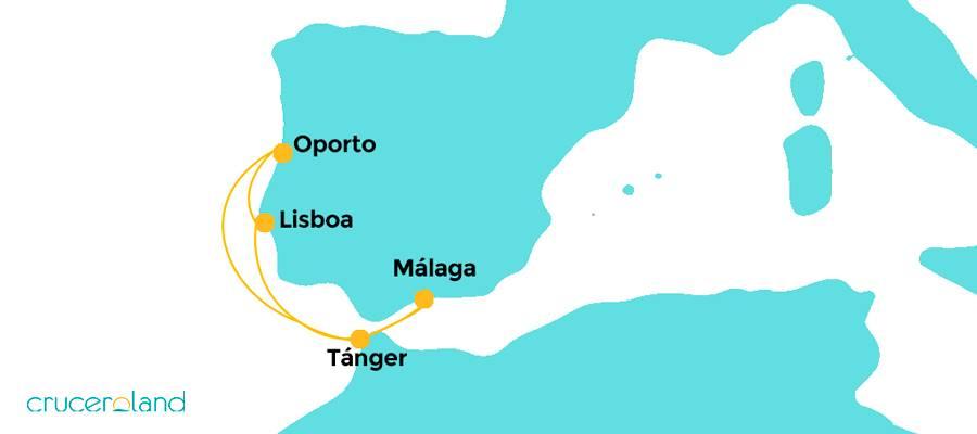 Itinerario crucero Portugal y Marruecos