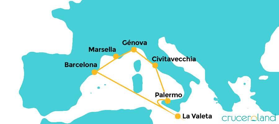 Itinerario Crucero Sicilia y Malta MSC