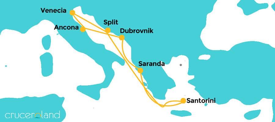 Itinerario por Adriático por Albania y Santorini