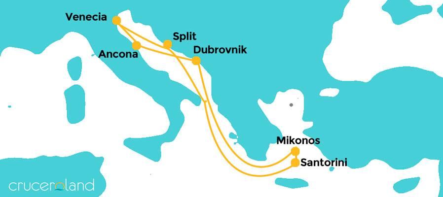 Itinerario crucero Adriático con el MSC Sinfonia