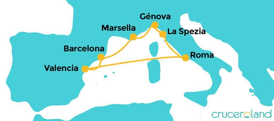 Itinerario crucero por el Mediterráneo