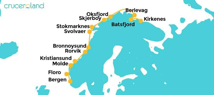 Itinerario crucero Noruega de sur a norte