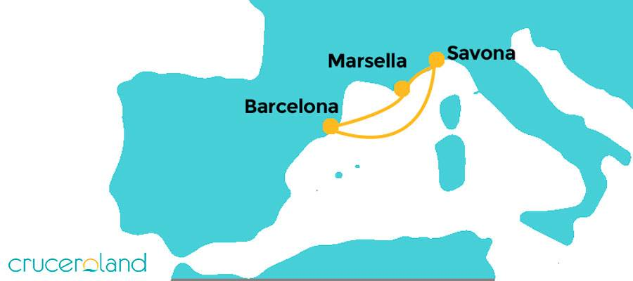 Itinerario mini crucero Mediterráneo